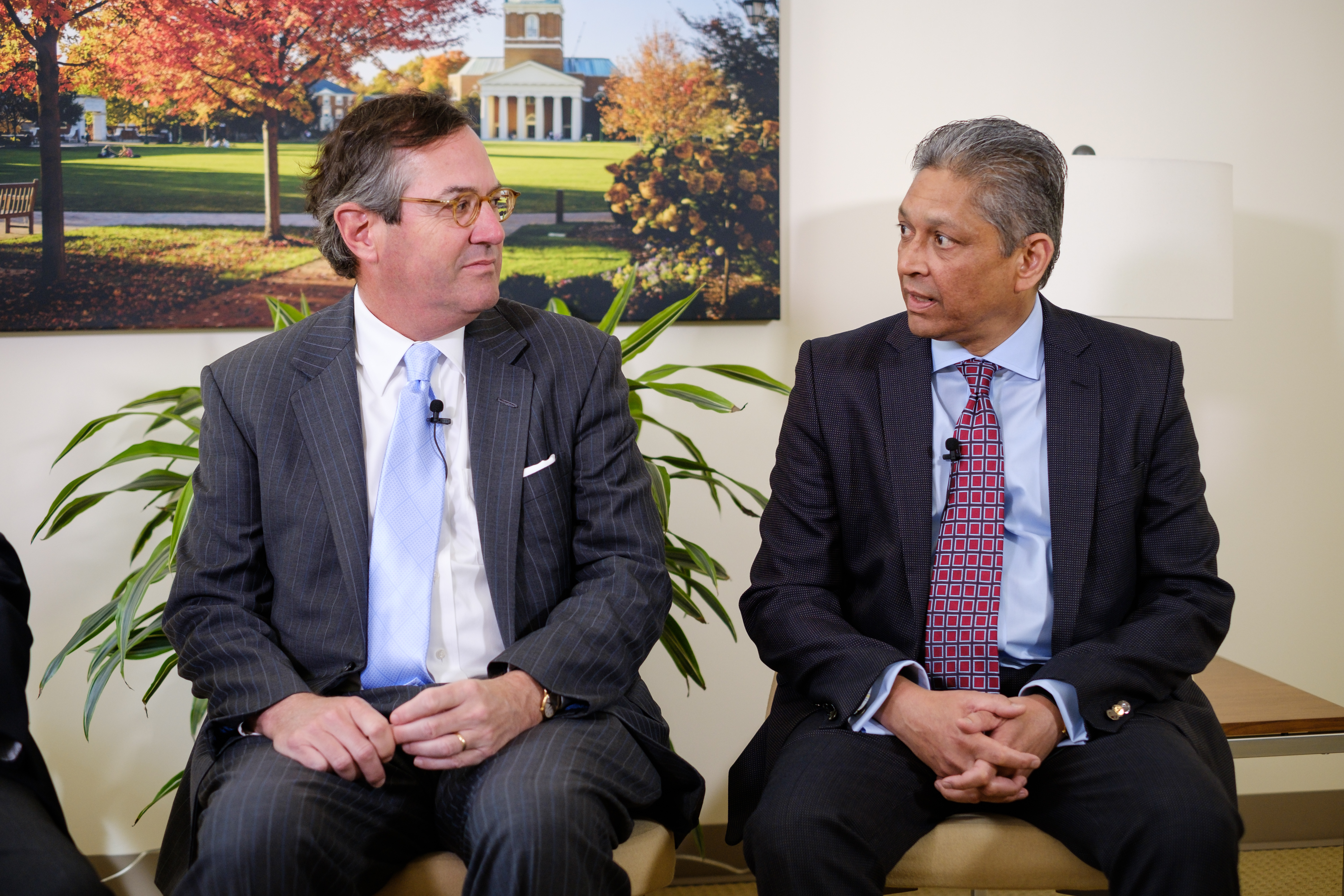 Wake Forest University staff interview Warren Stephens (MBA '81), with professor emeritus Tom Goho and professor Ajay Patel, in Farrell Hall on Wednesday, March 23, 2016. Patel holds the Goho Chair supported by Stephens.